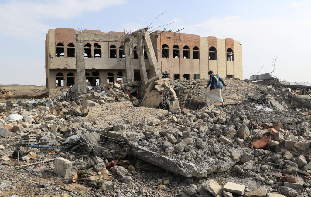 Site of an airstrike that destroyed the Community College in Saada, Yemen on April 12. Photo by Naif Rahma/Reuters