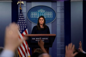 White House press secretary Sarah Huckabee Sanders holds the daily briefing at the White House in Washington, D.C. Photo by Carlos Barria/Reuters