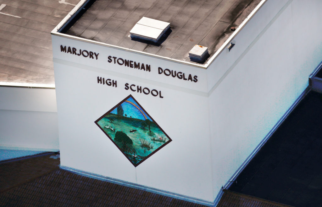 An aerial view shows Marjory Stoneman Douglas High School following a mass shooting in Parkland, Florida. Photo by Carlos Garcia Rawlins/Reuters