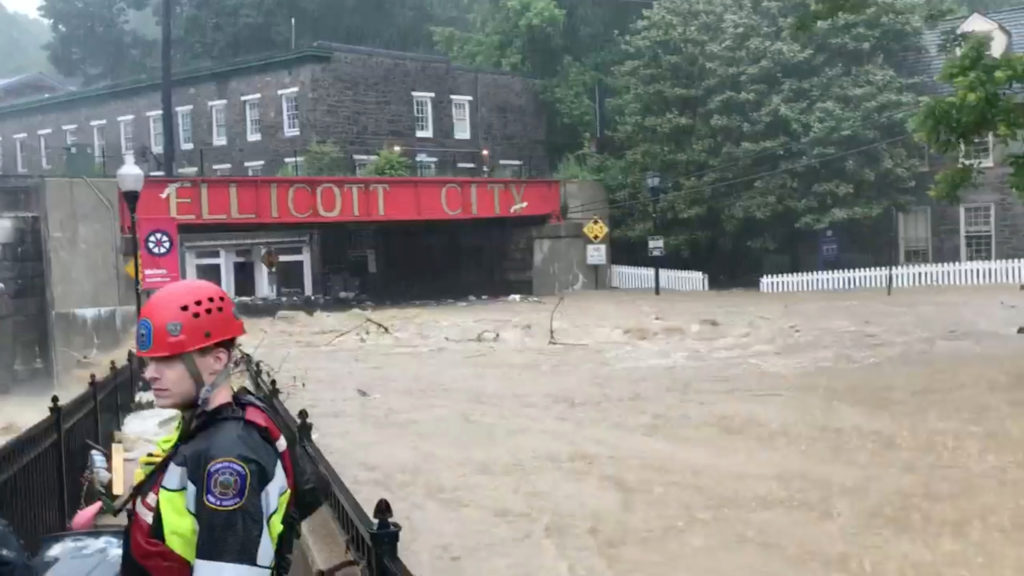 Flooding is seen in Ellicott City, Maryland, U.S. May 27, 2018, in this still image from video from social media. Todd Marks via Reuters