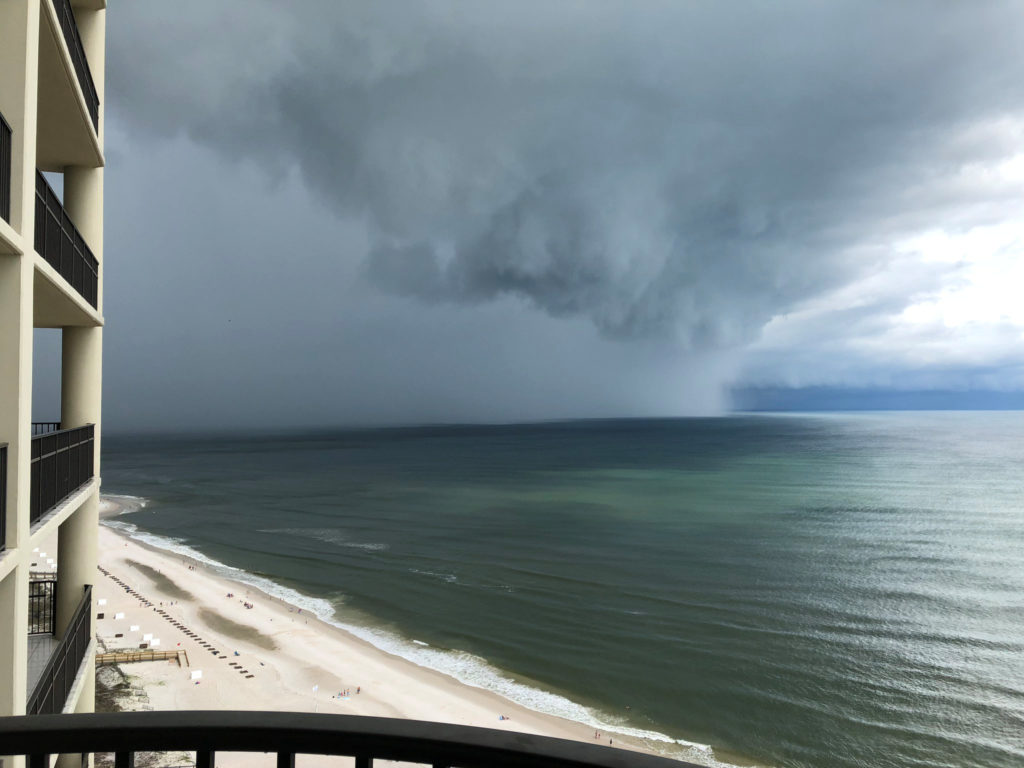 Subtropical Storm Alberto arrives at Orange Beach, Alabama, in this picture obtained from social media. Photo by David Green/@dsg_dukester/Twitter via Twitter
