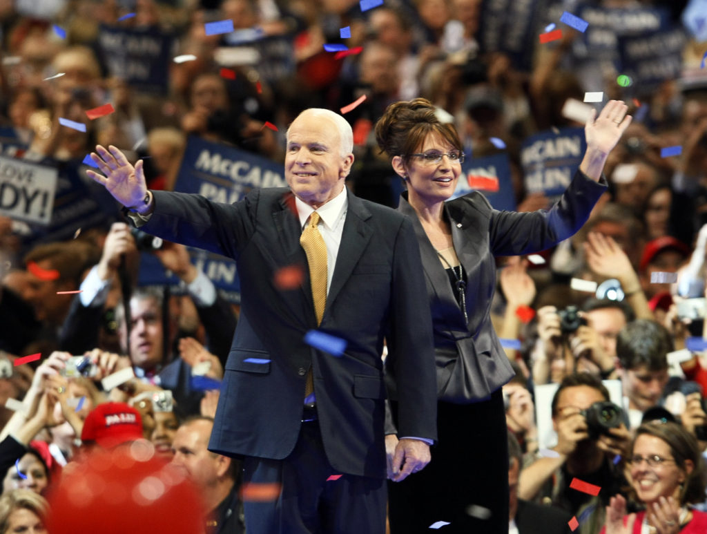Republican presidential nominee Sen. John McCain and vice presidential nominee Gov. Sarah Palin wave to supporters at the 2008 Republican National Convention in St. Paul, Minnesota on Sept. 4, 2008.  REUTERS/Rick Wilking (UNITED STATES)  US PRESIDENTIAL ELECTION CAMPAIGN 2008 (USA) - GM1E4950W7P01