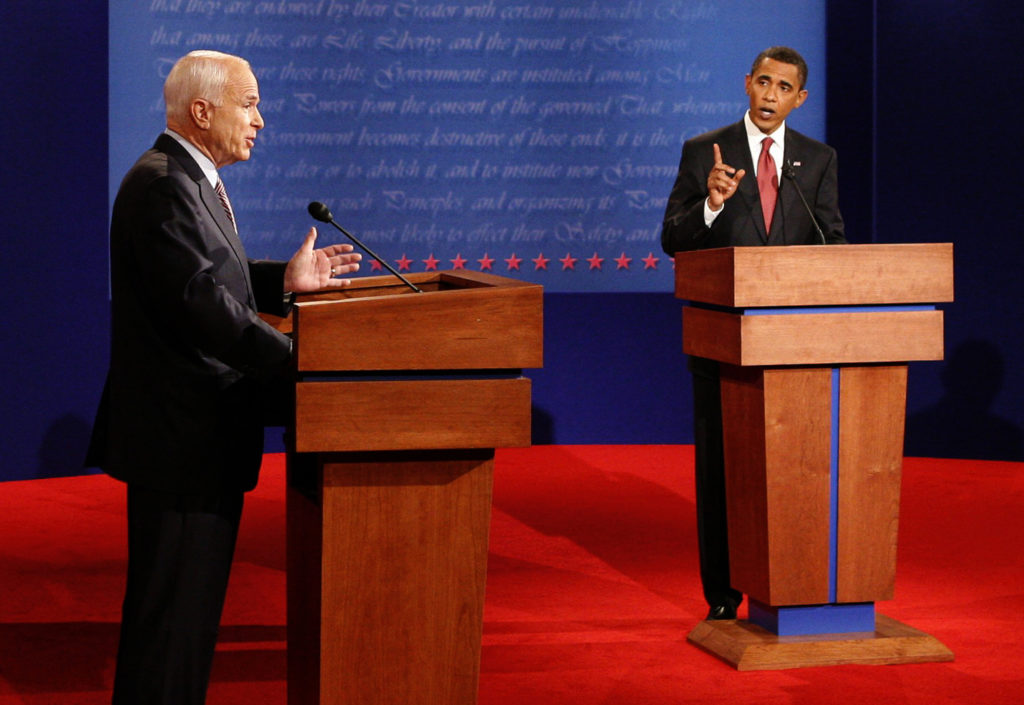 U.S. Republican presidential candidate John McCain (L) and U.S. Democratic presidential candidate Barack Obama (R) take part in the first U.S. presidential debate at the University of Mississippi in Oxford, Mississippi, September 26, 2008. REUTERS/Jim Bourg/Pool  (UNITED STATES)   US PRESIDENTIAL ELECTION CAMPAIGN 2008 (USA) - GF2E49R05J001