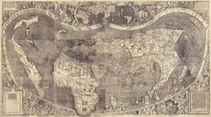 A world map from 1507 world map by cartographer Martin Waldseemuller is pictured in this handout image from the Library of Congress.