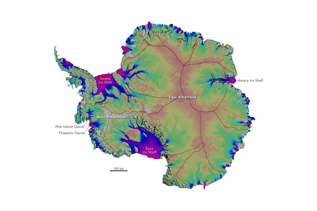 Map of fastest moving ice in Antarctica, based on radar images collected by satellites from Canada, Japan, and the European Space Agency between 1996 and 2009. The fastest moving areas are glaciers and ice shelves along the edge of the ice. The Pine Island and Thwaites glaciers (left) are moving most. Image courtesy Eric Rignot, NASA Jet Propulsion Laboratory and University of California Irvine.