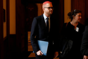 Former Cambridge Analytica employee Christopher Wylie testifies Wednesday on Capitol Hill. File photo by Aaron P. Bernstein/Reuters