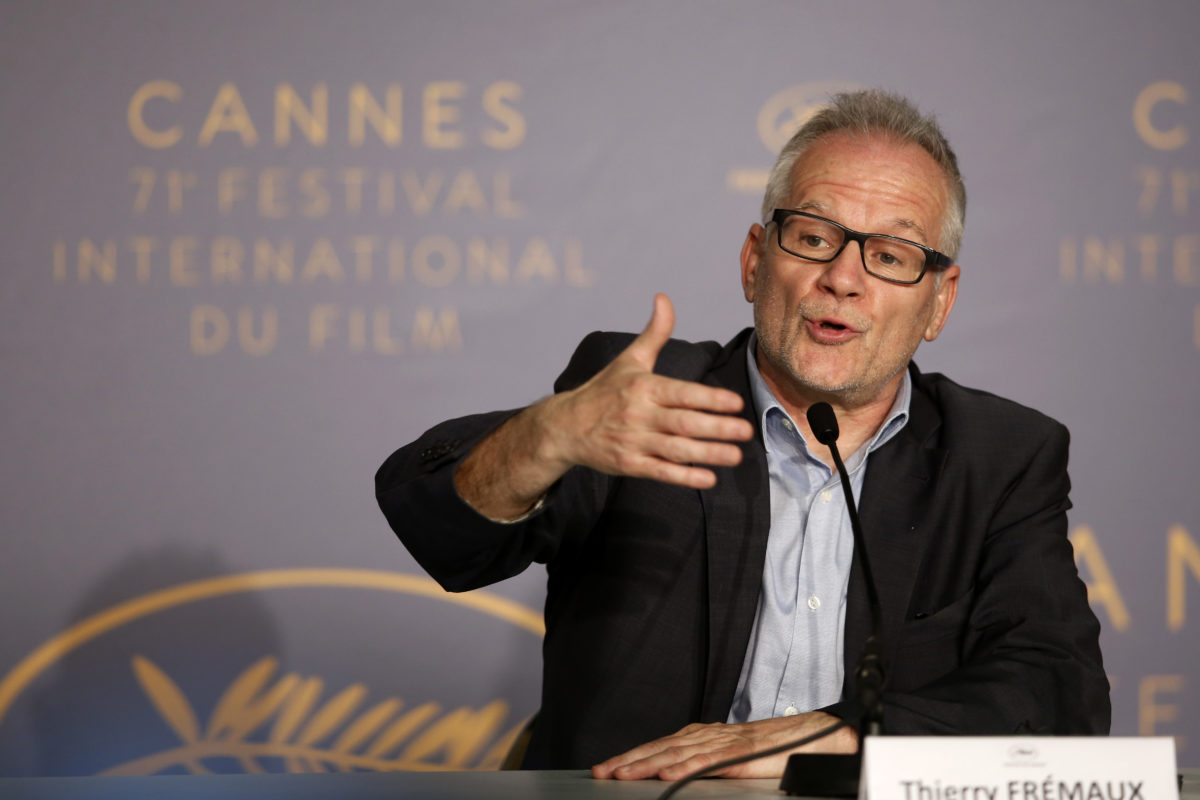 71st Cannes Film Festival – Cannes, France, May 7, 2018. Cannes Film festival general delegate Thierry Fremaux attends a news conference on the eve of the opening ceremony. REUTERS/Jean-Paul Pelissier - UP1EE5711LJR5