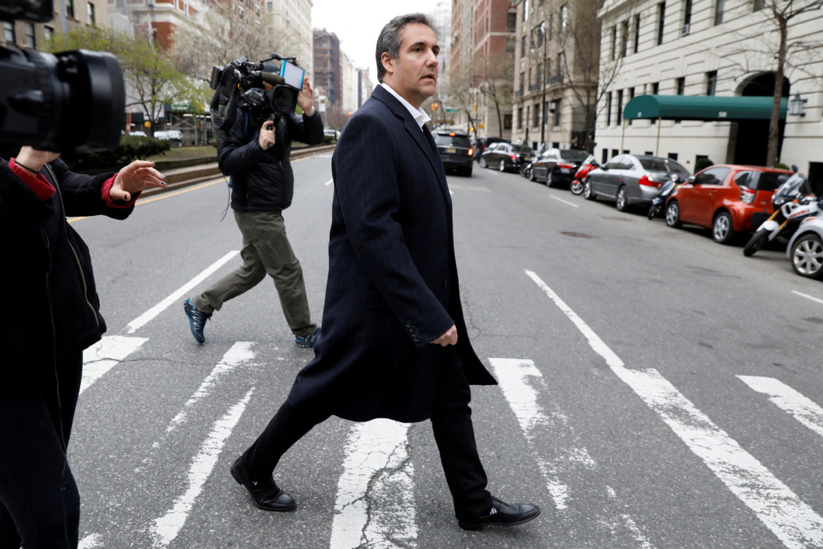 FILE PHOTO: U.S. President Donald Trump's personal lawyer Michael Cohen exits a hotel in New York City, U.S., April 11, 2018. REUTERS/Brendan McDermid/File Photo