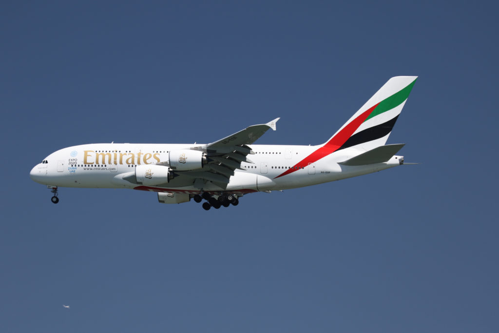 An Emirates Airlines Airbus A380-800, with Tail Number A6-EOF, lands at San Francisco International Airport, San Francisco...