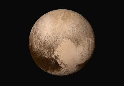 Four images from New Horizons' Long Range Reconnaissance Imager (LORRI) were combined with color data from the Ralph instrument to create this sharper global view of Pluto. Photo by NASA