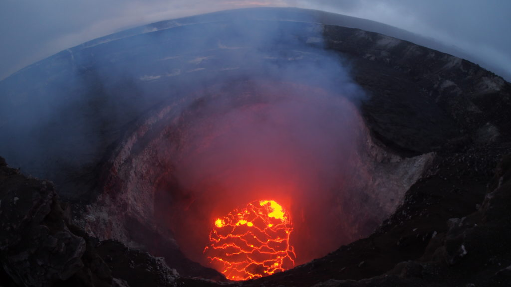 This wide-angle camera view captures the entire north portion of Kilauea's overlook crater. Photo by U.S. Geological Survey