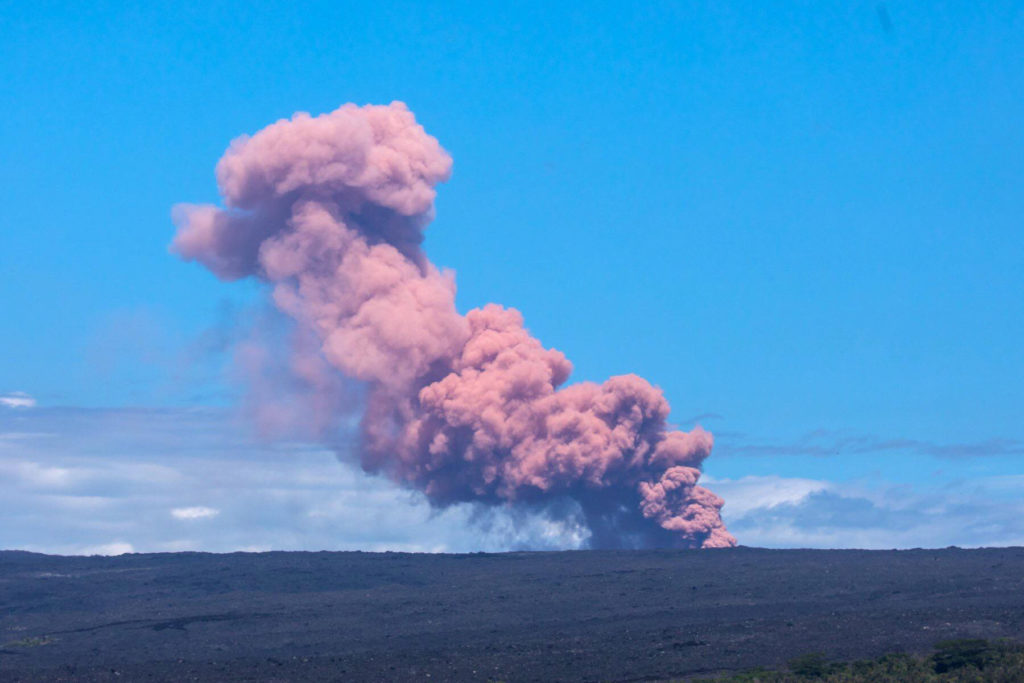 An ash cloud rises above Kilauea Volcano after it erupted, on Hawaii's Big Island May 3, 2018, in this photo obtained from social media. Photo by Janice Wei/via REUTERS