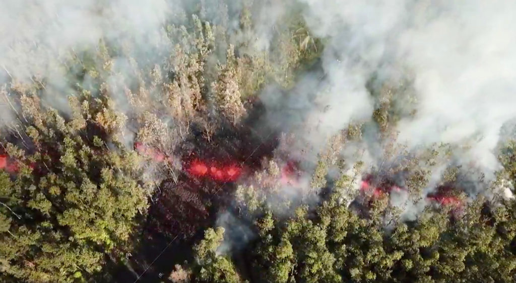 Lava emerges from the ground after Kilauea Volcano erupted, on Hawaii's Big Island May 3, 2018, in this still image taken from video obtained from social media. Photo by Jeremiah Osuna/via REUTERS