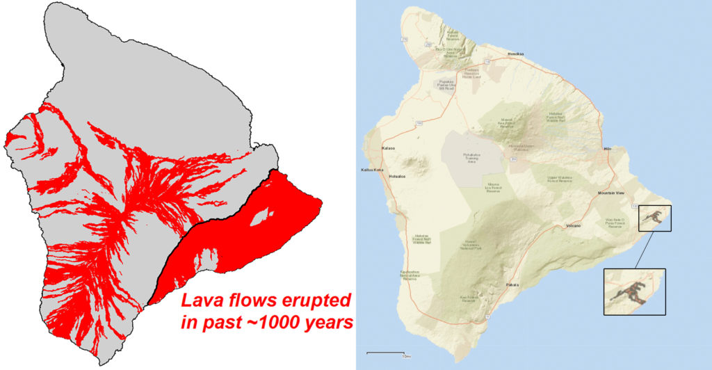 Map of Kilauea's lava flows over the last 1,000 years (left panel) versus lava flows today (right panel). Image by U.S. Geological Survey