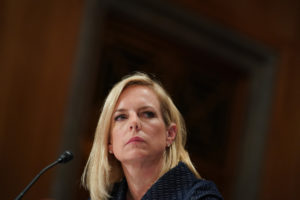 "Department of Homeland Security Secretary Kirstjen Nielsen testifies before a Senate Homeland Security and Governmental Affairs Committee hearing on ""Authorities and Resources Needed to Protect and Secure the United States,"" on Capitol Hill in Washington, DC, U.S., May 15, 2018. REUTERS/Erin Schaff"