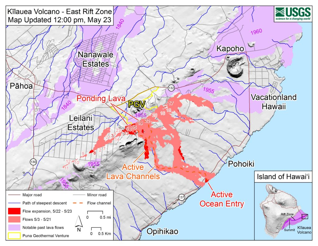 Map of fissures and lava flows (red) in the Kilauea lower east rift zone on May 23. Light purple areas indicate lava flows erupted in 1840, 1955, 1960, and 2014-2015. On the inset map (lower right), the dark purple area indicates locations of Kilauea volcano's east rift zone, southwest rift zone, and summit and the light purple area indicates the extent of Kīlauea. Map by U.S. Geological Survey