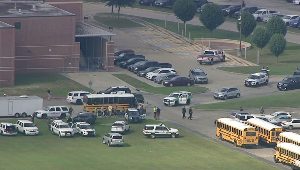 Aerial of Santa Fe High School in Texas. Image by KTRK-TV