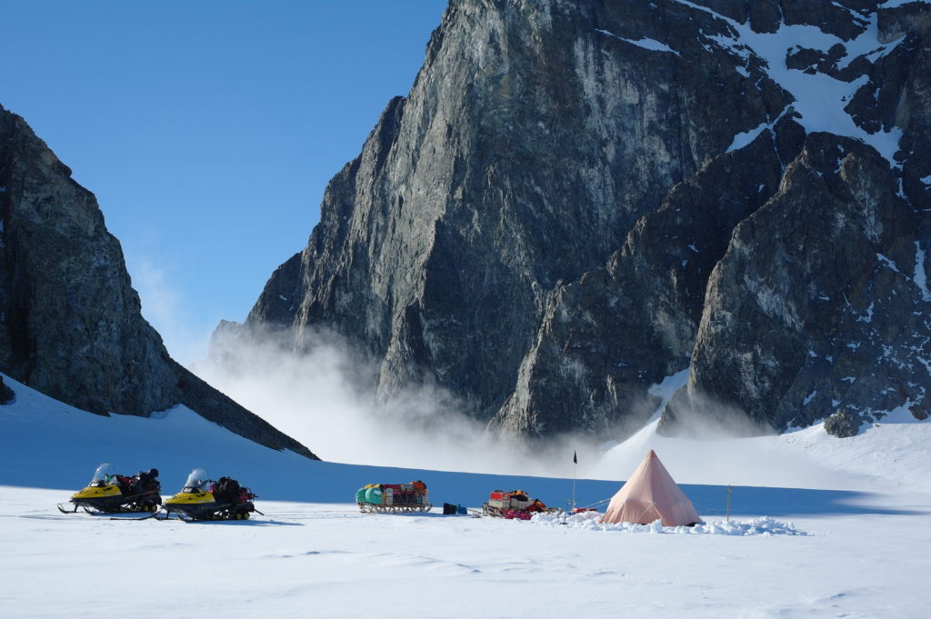 A British Antarctic Survey two-man field camp next to The Obelisk on Alexander Island, Antarctic Peninsula. Photo by Hamish Pritchard, BAS