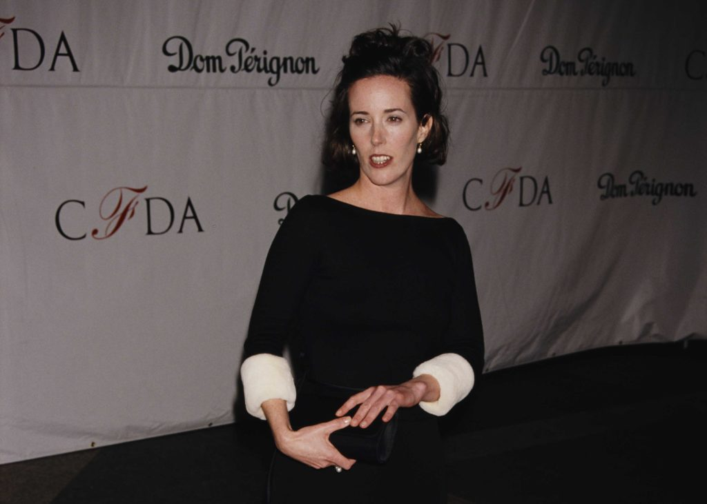 Fashion designer Kate Spade attends a CFDA (Council of Fashion Designers of America) event, New York, New York, 1998. (Photo by Rose Hartman/Getty Images)