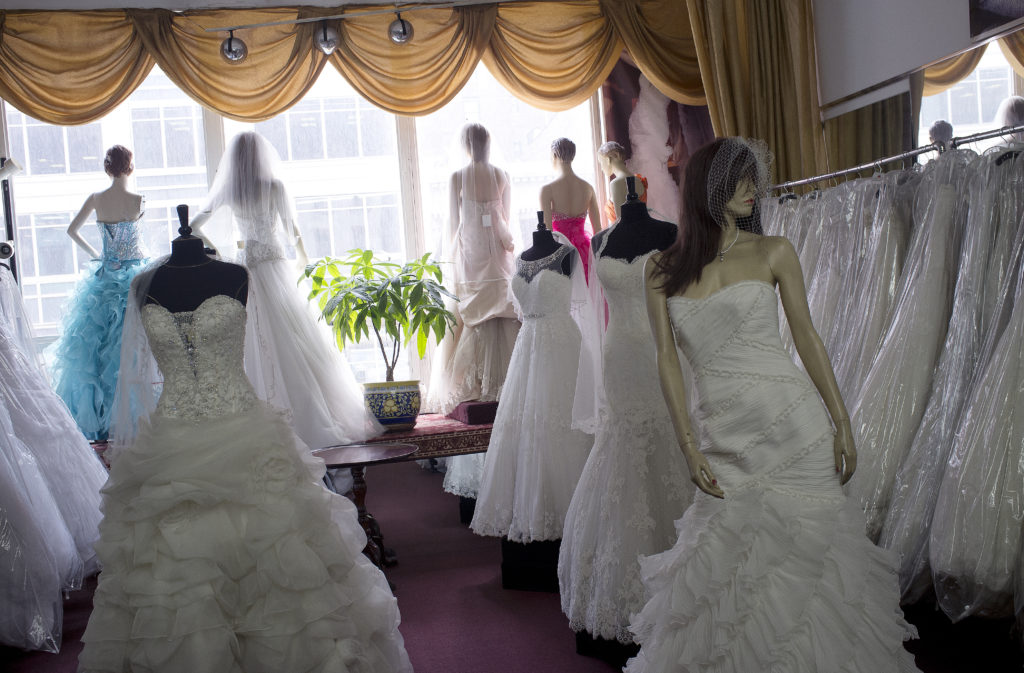 Street scenes from summertime in New York City. A bridal dress shop in Chelsea. Photo by Andrew Lichtenstein/Corbis via Getty Images