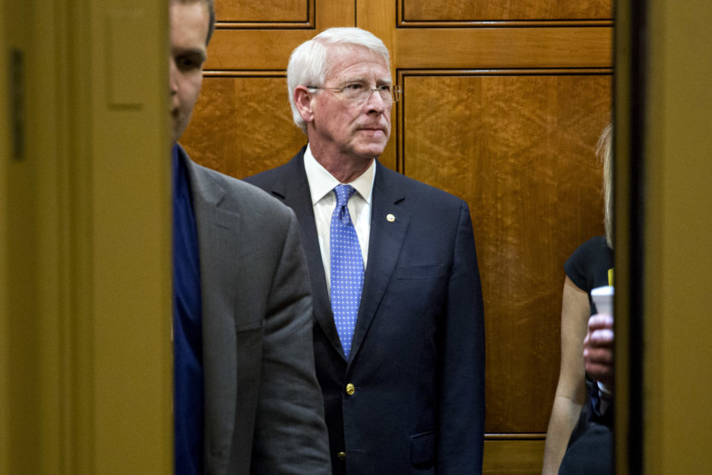Senator Roger Wicker, a Republican from Missouri, stands on an elevator before voting on the confirmation of Supreme Court nominee Neil Gorsuch in Washington, D.C., U.S., on Friday, April 7, 2017. The Senate handed President Donald Trump his biggest victory so far, confirming Gorsuch after Republicans muscled past Democratic opposition with a unilateral rule change that may wind up poisoning the debate over the presidents agenda in Congress. Photographer: Andrew Harrer/Bloomberg via Getty Images
