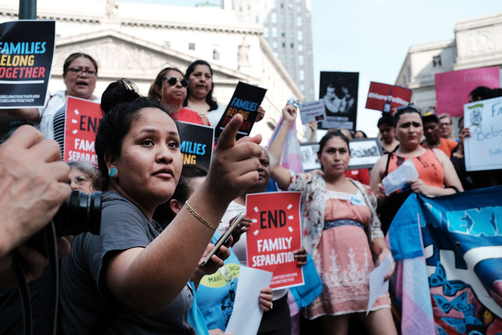 NEW YORK, NY - JUNE 01: Hundreds of immigrant rights advocates and others participate in rally and and demonstration at th...