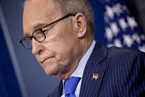 """Larry Kudlow, director of the U.S. National Economic Council, pauses while speaking during a White House press briefing in Washington, D.C., U.S., on Wednesday, June 6, 2018. Kudlow called trade tensions shadowing the G-7 conference beginning Friday a """"family quarrel"""" and said President Donald Trump will meet one-on-one with Canadian Prime Minister Justin Trudeau and French President Emmanuel Macron at the summit. Photographer: Andrew Harrer/Bloomberg via Getty Images"""