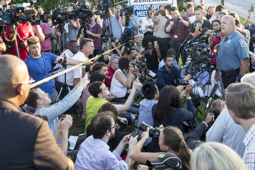 Deputy police chief William Krampf speaks at a press conference about the Capital Gazette shooting on June 28, 2018, in Annapolis, Maryland. Photo by Alex Wroblewski/Getty Images