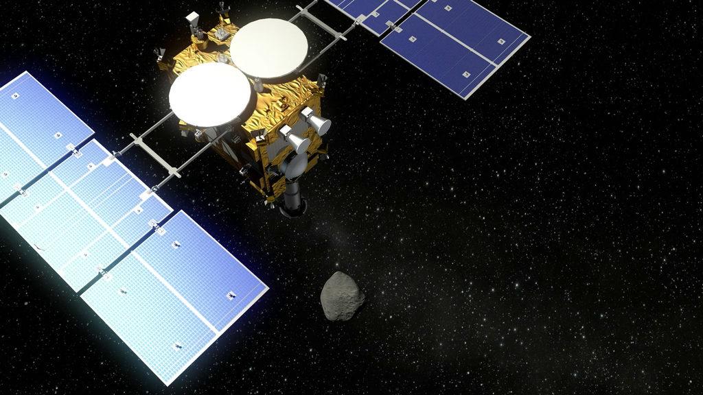 Visualization of the Hayabusa2 probe and an asteroid. Photo by Deutsches Zentrum für Luft- und Raumfahrt/via Wikimedia