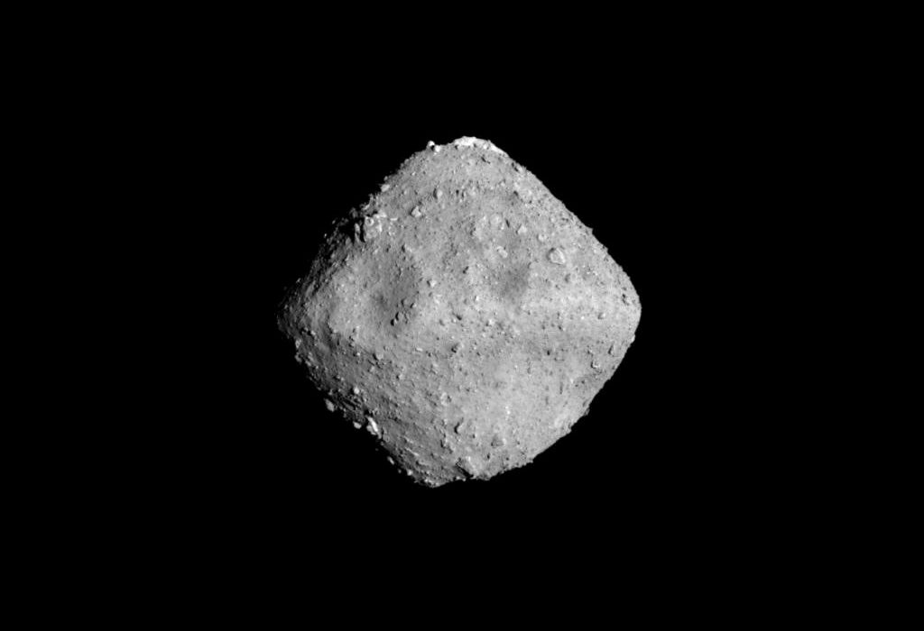 Asteroid Ryugu is photographed by the ONC-T, which is equipped on Hayabusa2 probe, in outer space 280 million kilometer from the Earth, on June 24, 2018. Given its circuitous route, the probe has traveled around 3.2 billion kilometers since its launch in 2014. Photo by JAXA-Tokyo University/Handout via REUTERS
