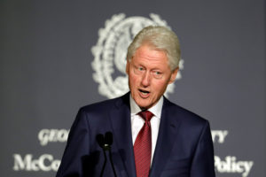 Former President Bill Clinton delivers a keynote address at Georgetown University Institute of Politics and Public Service symposium in 2017. Photo by Yuri Gripas/Reuters