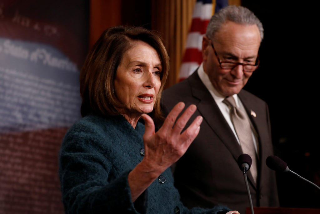 File photo of House Minority Leader Nancy Pelosi and Senate Minority Leader Chuck Schumer by Aaron P. Bernstein/Reuters