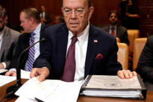 U.S. Commerce Secretary Wilbur Ross prepares to testify before a Senate Commerce, Justice, Science and Related Agencies Subcommittee holds a hearing on the FY2019 funding request and budget justification for the Commerce Department on Capitol Hill in Washington, U.S., May 10, 2018. REUTERS/Yuri Gripas - RC1BBD3E4000