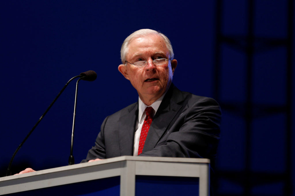 Attorney General Jeff Sessions delivers remarks at the National Law Enforcement Officers Memorial Fund's 30th annual candl...