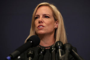 Secretary of Homeland Security Kirstjen Nielsen speaks to reporters after she, FBI Director Christopher Wray and Director of National Intelligence Daniel Coats briefed members of the House of Representatives on election security at the U.S. Capitol in Washington, D.C. Photo by Jonathan Ernst/Reuters