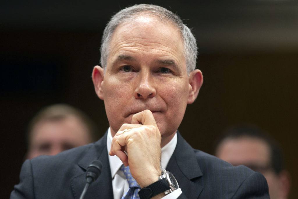 EPA Administrator Scott Pruitt testifies before a Senate Appropriations Interior, Environment, and Related Agencies Subcommittee hearing on the proposed budget estimates and justification for FY2019 for the Environmental Protection Agency on Capitol Hill in Washington, U.S., May 16, 2018. Photo by Al Drago/Reuters