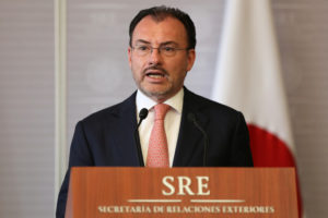 Mexico's Foreign Minister Luis Videgaray delivers a joint message with his Japanese counterpart Taro Kono in Mexico City, Mexico. Photo by Gustavo Graf/Reuters