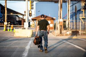 A steel worker returns to work at U.S. Steel Granite City Works in Granite City