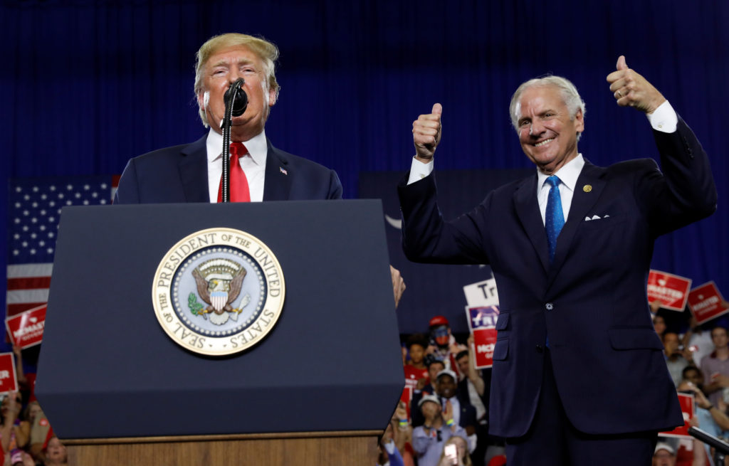 President Donald Trump participates in a rally in support of South Carolina Gov. Henry McMaster in West Columbia, South Carolina. Photo by Kevin Lamarque/Reuters