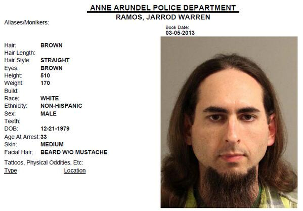 Jarrod Ramos, suspected of killing five people at the offices of the Capital Gazette newspaper office in Annapolis, Maryland. Photo by Anne Arundel Police Department booking photo obtained from social media via Reuters