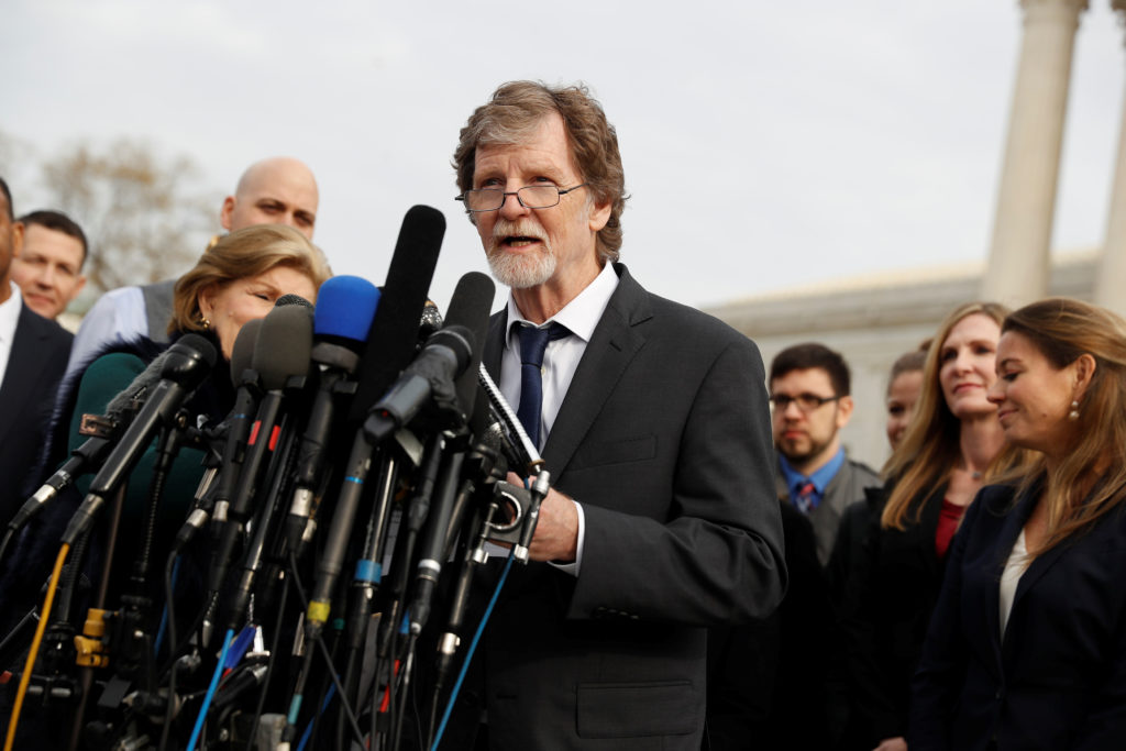Baker Jack Phillips speaks with the media following 2017 oral arguments in the Masterpiece Cakeshop v. Colorado Civil Righ...