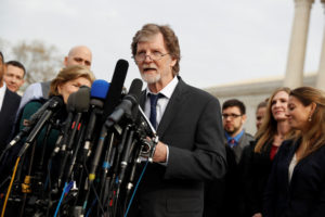 Baker Jack Phillips speaks with the media following 2017 oral arguments in the Masterpiece Cakeshop v. Colorado Civil Rights Commission case at the Supreme Court in Washington, D.C. Photo by Aaron P. Bernstein/Reuters