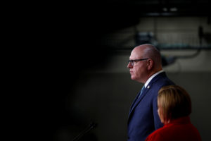 House Democratic Caucus Chairman Joe Crowley (D-New York), and Vice Chair Linda Sanchez (D-Calif.) attend a press conference on Capitol Hill in Washington, D.C. Photo by Eric Thayer/Reuters