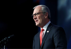 Representative Kevin Cramer (R-ND) speaks at the 2018 North Dakota Republican Party Convention in Grand Forks, North Dakota, U.S., April 7, 2018. Picture taken April 7, 2018. The party endorsed him for the U.S. Senate race against Democratic Sen. Heidi Heitkamp. REUTERS/Dan Koeck - RC16643EC480