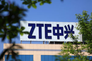 The logo of China's ZTE Corp. is seen on a building in Nanjing, Jiangsu province. Photo by a stringer via Reuters