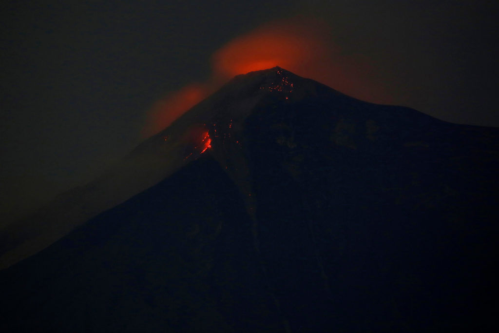 Fuego volcano is pictured after it erupted violently, in San Juan A…