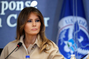 First lady Melania Trump appears with President Donald Trump at a public event for the first time in almost a month during a hurricane response briefing at the Federal Emergency Management Agency (FEMA) in Washington, D.C. Photo by Carlos Barria/Reuters