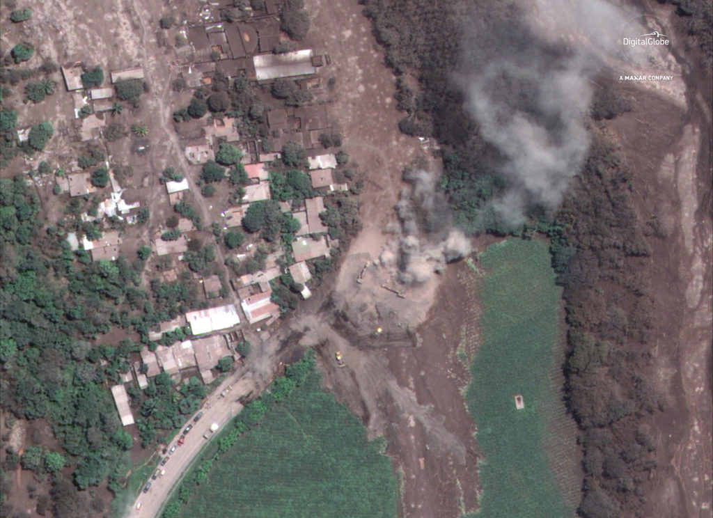 Satellite imagery shows lava flow associated with the eruption of the Feugo Volcano near the village of San Miguel Los Lotes and surrounding area in Guatemala, June 6. Satellite image ©2018 DigitalGlobe, a Maxar company/Handout via Reuters