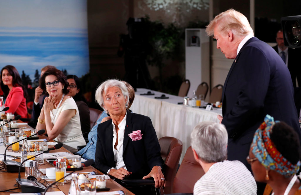 U.S. President Trump arrives at a G7 and Gender Equality Advisory Council meeting as part of a G7 summit in the Charlevoix city of La Malbaie
