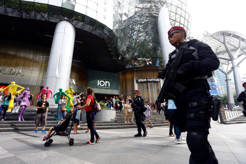 Special Operations Command (SOC) police officers patrol Orchard Road on June 10 ahead of the Trump-Kim summit in Singapore. Photo by Feline Lim/Reuters